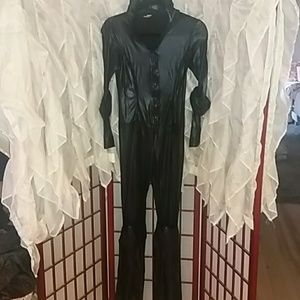 Ladies black wet look catsuit. By Mystery House.